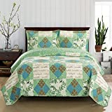 Davina Full / Queen Size, Over-Sized Coverlet 3pc set, Luxury Microfiber Printed Quilt by Royal Hotel