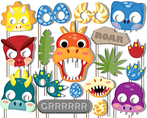 Little Dino Dinosaur Photo Booth Props Kit - 20 Pack Party Camera Props Fully Assembled by Birthday Galore