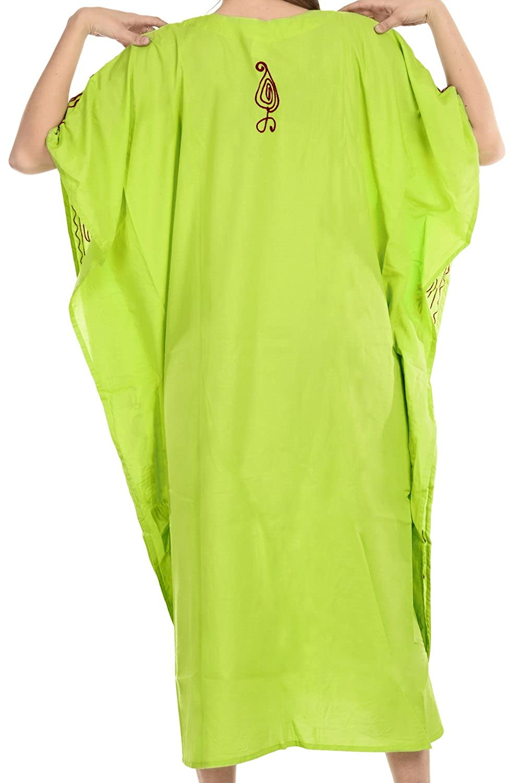 LA LEELA Boho Women Rayon Embroidered Tunic Caftan Kimono Oversized Long Maxi Loungewear Holiday Nightwear Everyday Beach Cover UP Plus Size Kaftan M