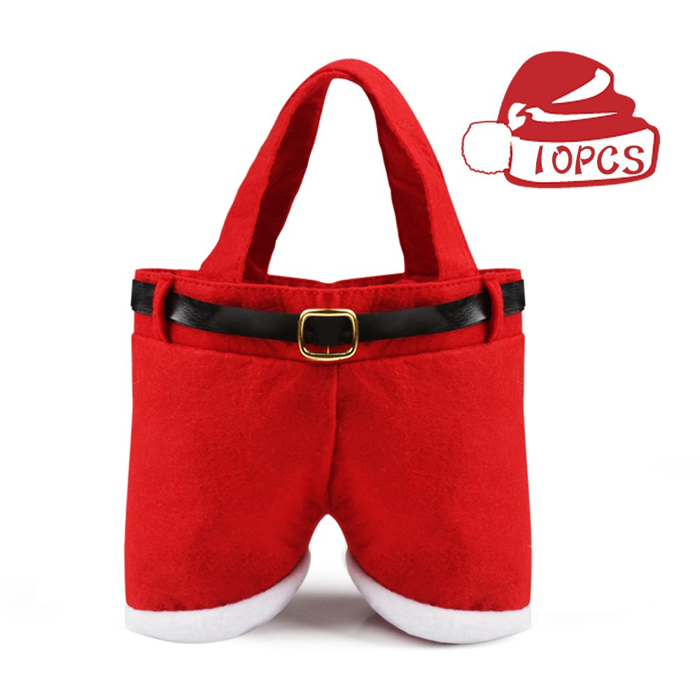ThyWay 6/8/10PCS Christmas Candy Bag Santa Pants Gift and Treat Bags with Handle Portable Candy Gift Baskets Gift Wrap for Wedding (10)