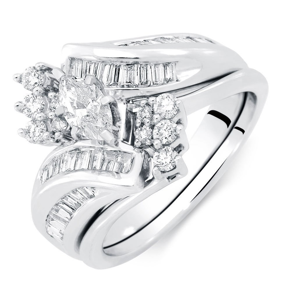 Smewels 1.5 Ct Marquise Baguette & Round Engagement Wedding Bridal Set White Gold Fn 925