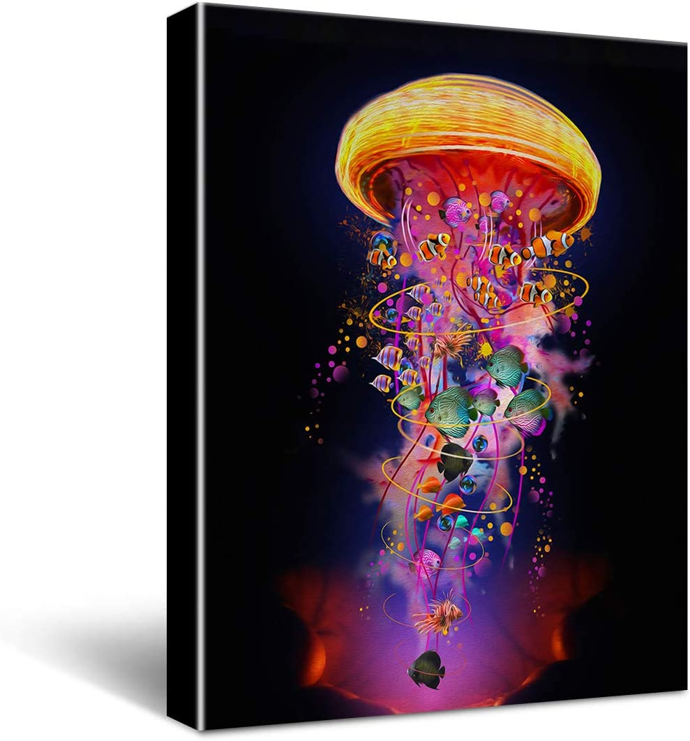HIjie Bright and Colorful Jellyfish Bathroom Canvas Wall Art Decoration, Sea Theme Wall Decor for Dining Room Living Room Bedroom 11.5'' X 15''