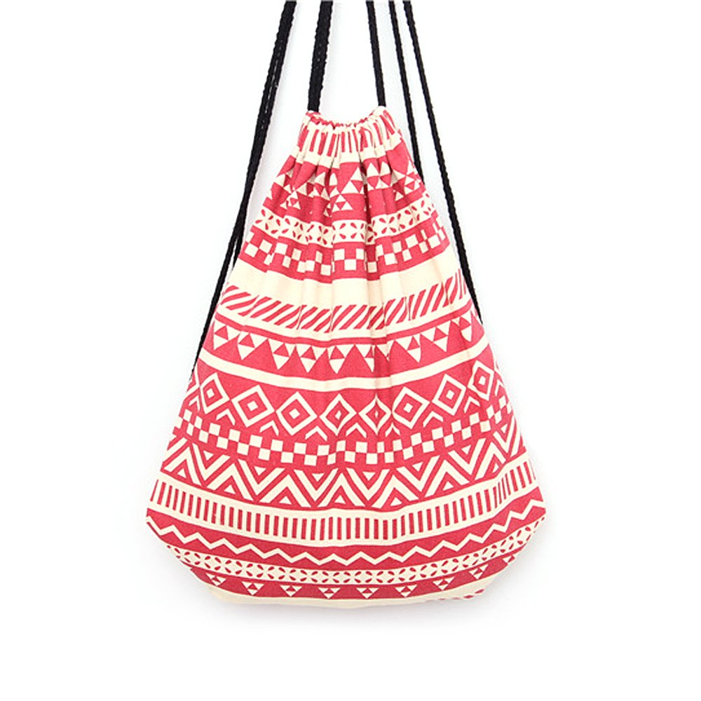 Women Canvas Cottom Drawstring Backpack Striped Causal Girl Travel Bags