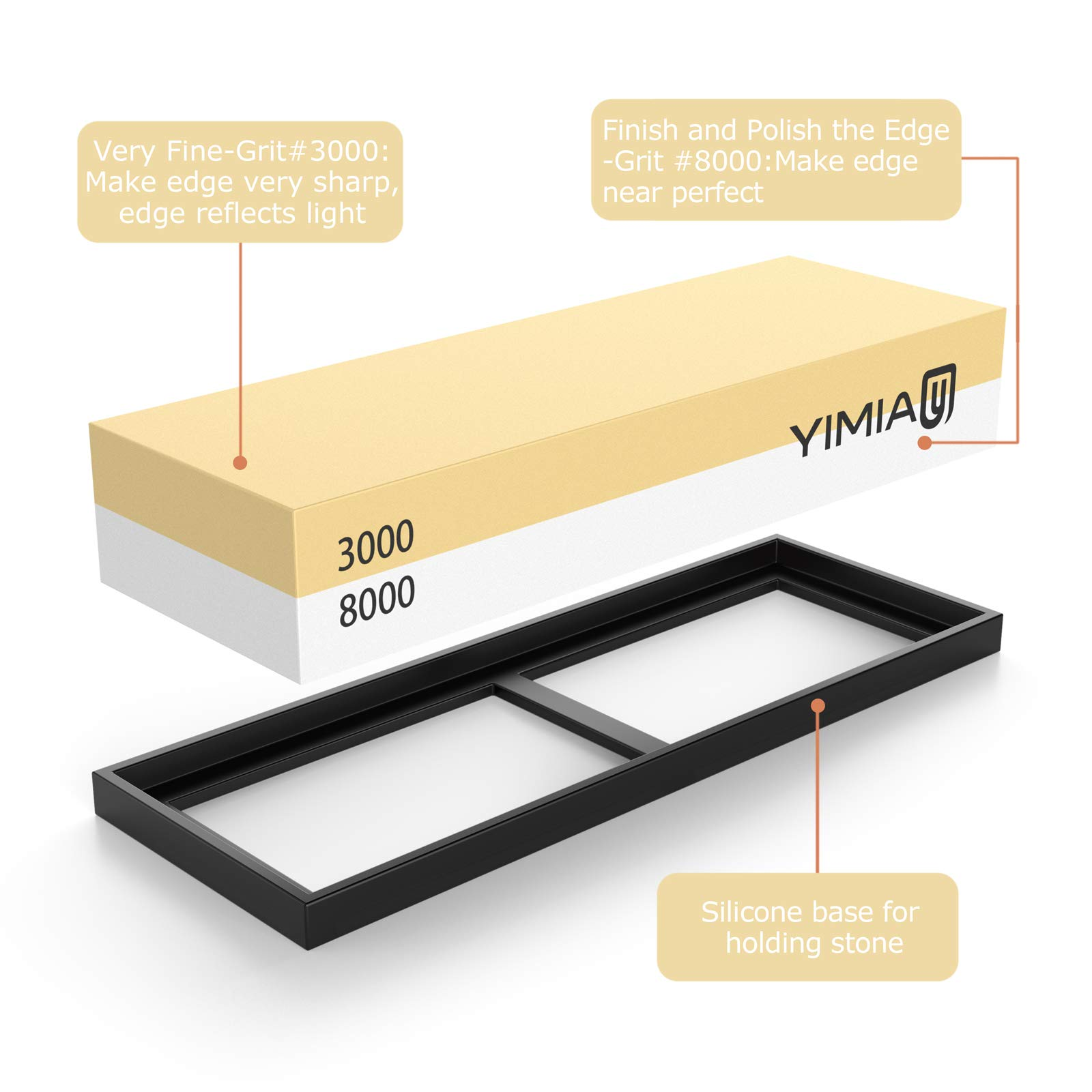 Sharpening Stone Kit, YIMIA 4 Side Grit 400/1000 3000/8000 Whetstone, Knife Sharpener Waterstone with Non-Slip Bamboo Base & Flattening Stone & Angle Guide by YIMIA (Image #2)