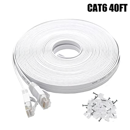 Cat6 Ethernet Cable 40 FT White, Intelart Cat-6 Flat RJ45 Computer Internet LAN