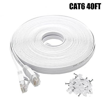 Cat6 Ethernet Cable 40 FT White, Intelart Cat-6 Flat RJ45 Computer Internet LAN