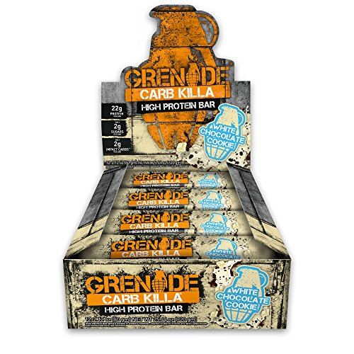 Grenade Carb Killa Protein Chocolate Bar | 22g High Protein Snack | Keto Friendly Low Net Carb Low Sugar | Gluten Free Nut Free Energy Bars | White Chocolate Cookie, -