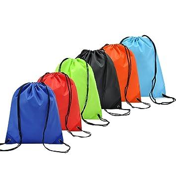 6 Pack Mochila Saco Bolsas de Cuerdas de Deporte Coolzon® Bolso Gimnasio de Nylon Gymsack