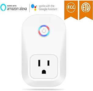 WiFi Smart Plug Outlet Compatible with Amazon Alexa,Wireless Energy Monitor, Wireless Socket Home Smart Switch, No Hub Required Remote Control Your Devices from Anywhere