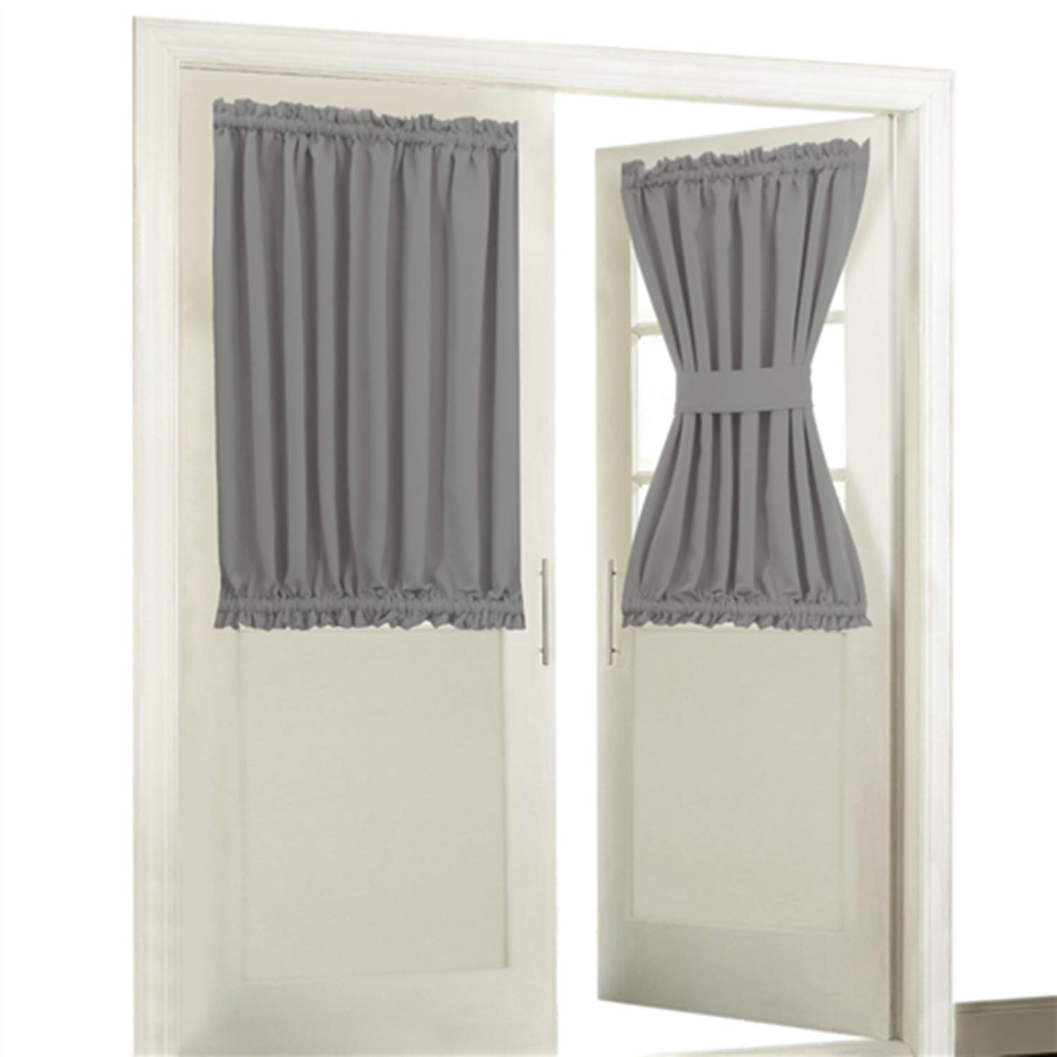 Back Door Window Covering.Aquazolax Blackout Rod Pockets Door Window Curtain Back Door Side Panels For Privacy 54w X 40l Blackout Window Treatment Curtains Drapery For French