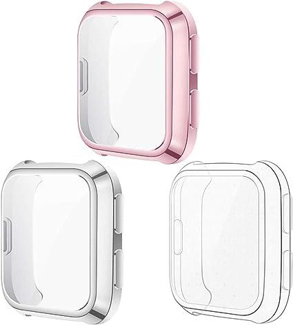Kimilar Hülle Kompatibel Mit Fitbit Versa Schutzhülle Nicht Für Versa Lite Versa 2 3 Stück Sanft Vollständige Abdeckung Tpu Cover Case Schutzfolie Rose Pink Silber Klar Elektronik