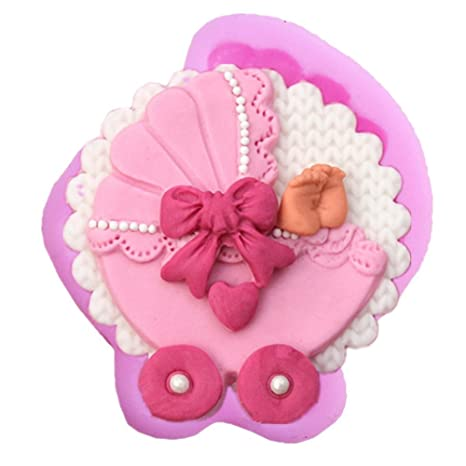 Molde de silicona con forma de carrito de bebé para tartas, chocolate, fondant,