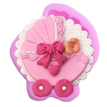Molde de silicona con forma de carrito de bebé para tartas ...