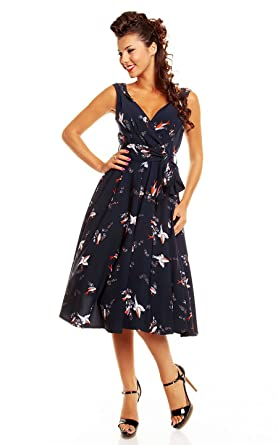 Sarah-P Vintage Style Retro Swing 50s Rockabilly Navy Swallow Print Dress ...