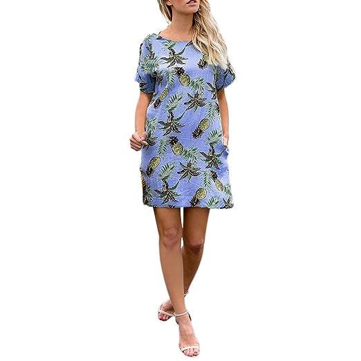 138290799574 HOSOCHRIS Women s Summer Loose Fit Pinapple Printing Short Sleeve Mini Dress  Sexy Casual Blue Dress (