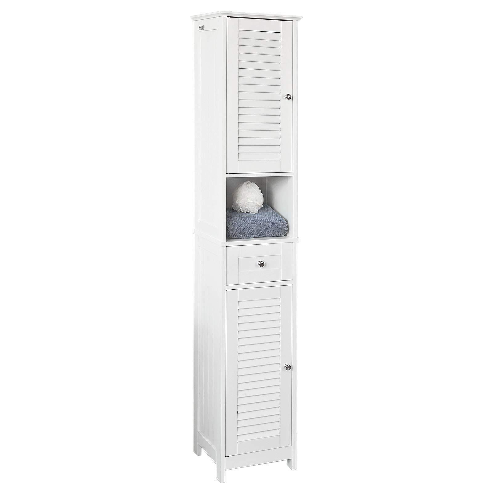a2bec425c SoBuy Armario para baño Alto Mueble Columna de baño estanterías de baño-2  Puertas y