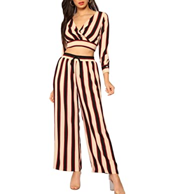 6b5e235a0 2 Piece Outfits Jumpsuits for Women Stripes 3/4 Sleeves Wrap V Neck Crop Top