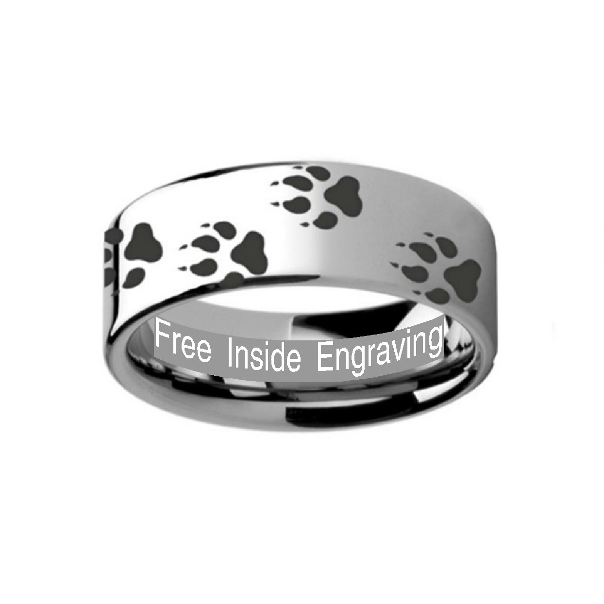 Thorsten Animal Trotting Running Horse Equestrian Print Pattern Ring Polished Tungsten Ring 10mm Wide Wedding Band from Roy Rose Jewelry