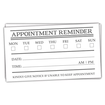 50 appointment reminder cards standard business card size - Business Card Standard Size
