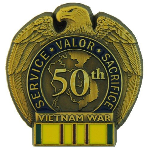 MilitaryBest 50th Anniversary Vietnam War Lapel Pin with Service Ribbon
