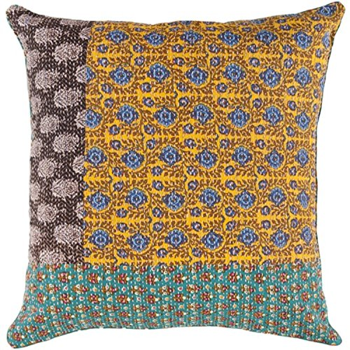 "UPC 762152616224, 22"" Brown, Teal and Yellow Abstract Print Decorative Throw Pillow - Down Filler"