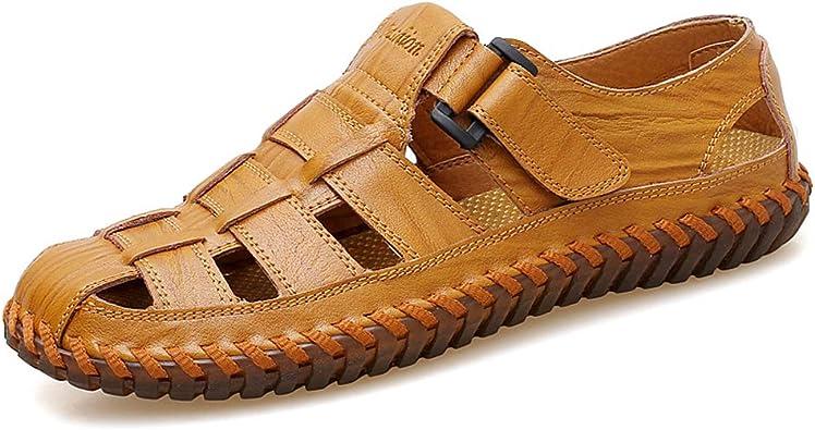 Moodeng Sandales Homme Cuir Fermé Chaussure de randonnée Confort Été Extérieur Sports Trekking