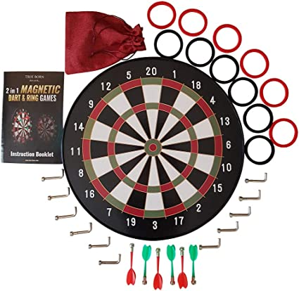 """18/"""" Magnetic Kids Toy Play Dart Board Dartboard with 6 Darts Party Game Adults B"""