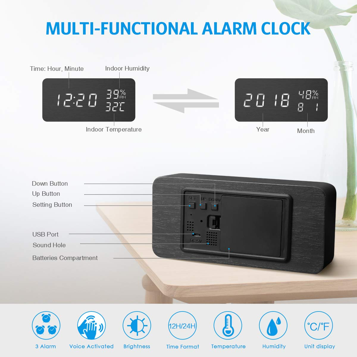 AMIR Alarm Clock, Wooden Digital Multi-Function Modern Cube LED Light, Smart Voice-Activated with 3 Alarm Sounds, Display Date Temperature & Humidity for Home, Kitchen, Bedroom (Black) by AMIR (Image #2)