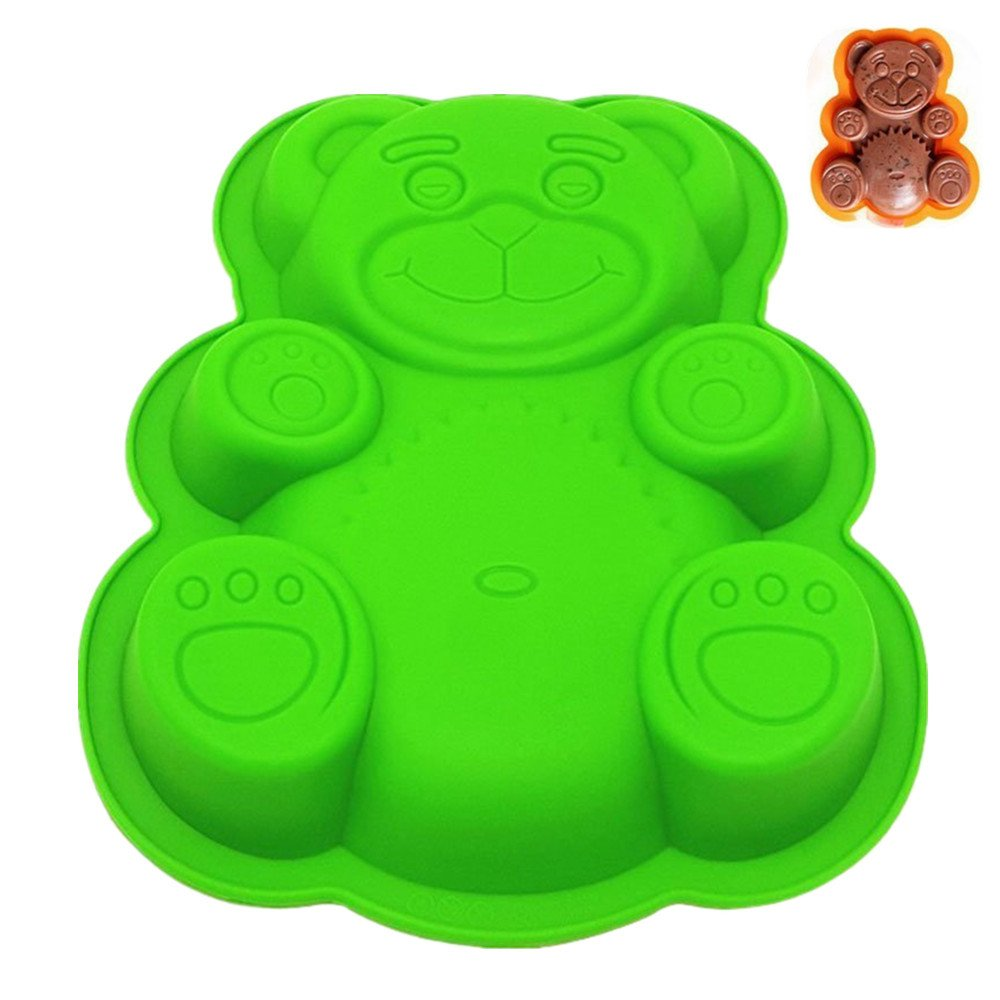 Novelty Silicone Cake Pan for Kids | 3D Bear Baking Mold Set | Approx. 11 Inch Cake Baking Mold, Nonstick Bakeware, BPA Free, FDA-Approved, 11.4 x 9.05 x 1.58 Inches (Large-Bear)