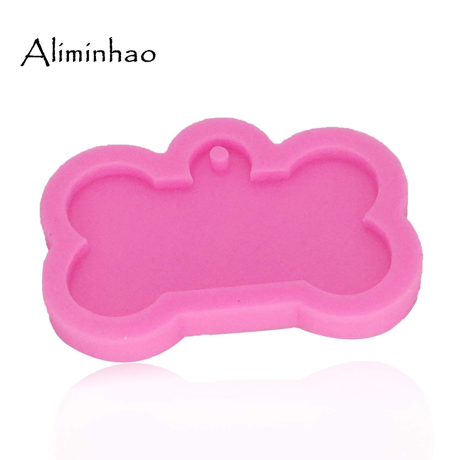 UTREND/_DY0061 Dog bone shape silicone mold for key chain Pendant moulds suitable for polymer clay DIY Jewelry Making epoxy Resin mold Color:Pink