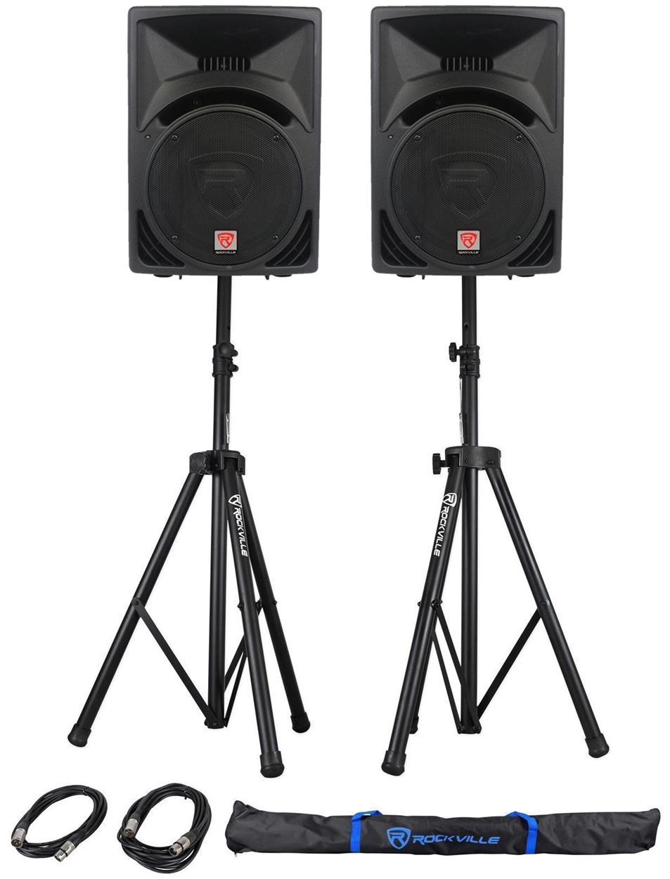 Pair Rockville RPG12 12'' 1600w Powered PA/DJ Speakers + 2 Stands + 2 Cables+Bag