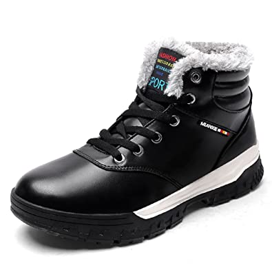 Leather Lace Up Outdoor Hiking Boots Fur Lining