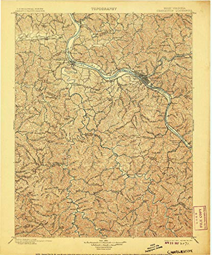 (YellowMaps Charleston WV topo map, 1:125000 Scale, 30 X 30 Minute, Historical, 1899, Updated 1907, 19.9 x 16.5 in - Polypropylene)