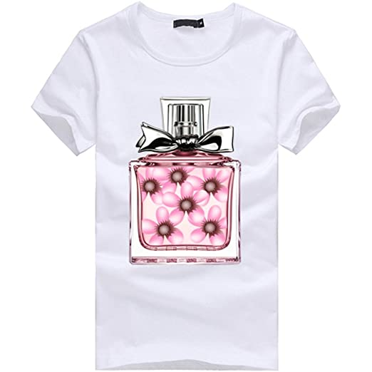 4971745a4c POTO Womens Short Sleeve Blouse Fashion Perfume Bottle Print T-Shirt Blouse  Tops (S