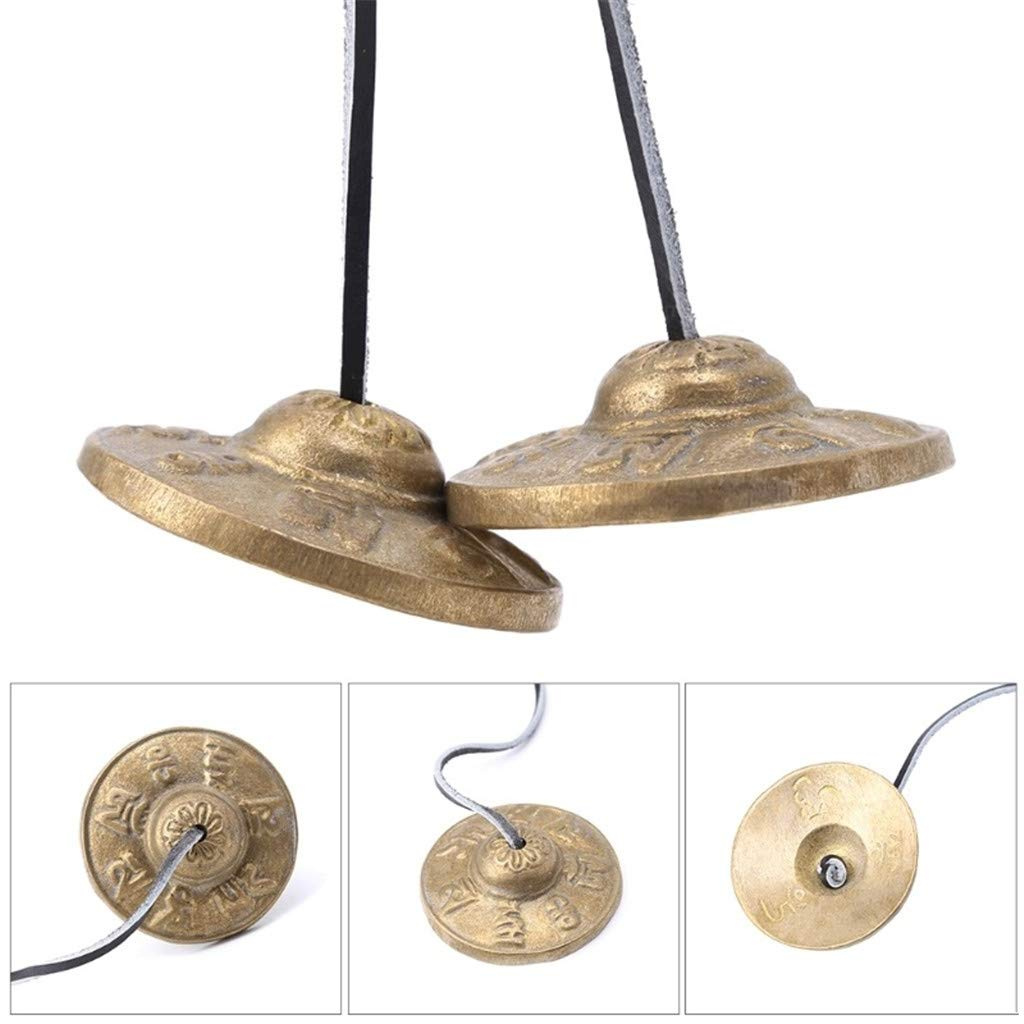 Whryspa 2.6in/6.5cm Handcrafted Tibetan Meditation Tingsha Cymbal Bell Buddhist The Six-Word Symbols Lucky Symbols by Whryspa