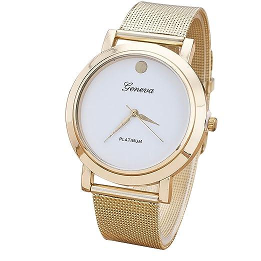 Malla de acero inoxidable concisa Fashion reloj Mujer Business relojes de pulsera Blanco