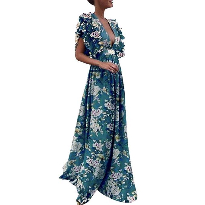 fa9304b2240 Toimothcn Women Vintage Fly Sleeve Backless Deep V-Neck Long Wedding  Evening Party Maxi Dress