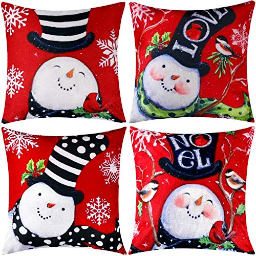 Jetec 4 Pieces Pillow Case Throw Cushion Cover Cotton Linen Pillow Decorations for Halloween Thanksgiving Christmas Autumn, 18 by 18 inch (Color Set 10) -