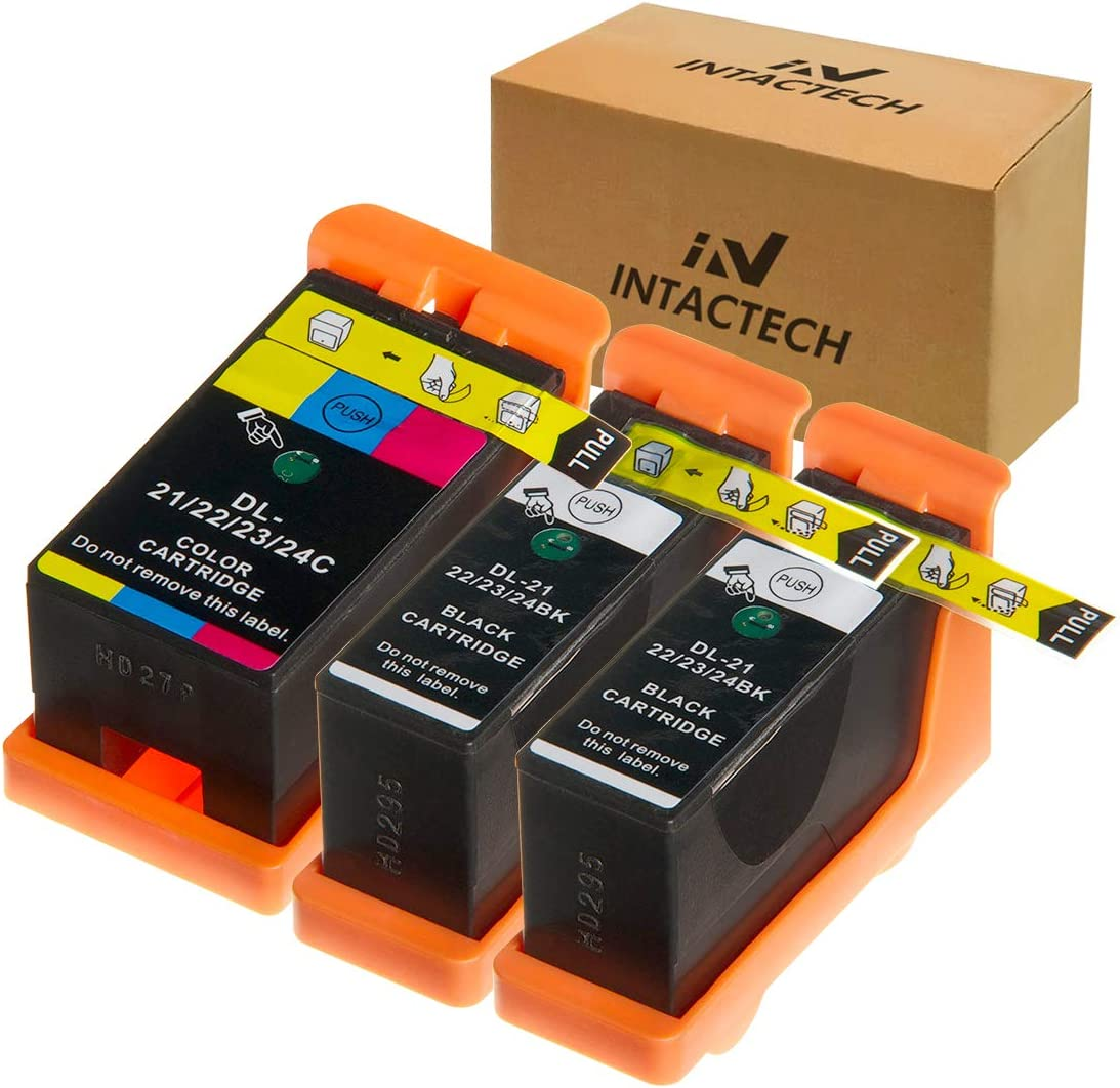 Intactech Replacement for Dell V515w, V715w, V313w, Series 21, Series 22, Series 23, Series 24 Ink Cartridges 3 Pack (2 Black/1 Color) Work for Dell V313, V313w, V515w, V715w, P513w, P713w Printer
