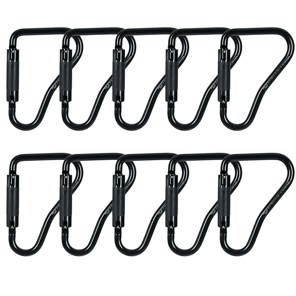 Fusion Climb Military Tactical Rescue Prima High Strength Steel Auto Lock Ladder Hook Carabiner Black 10-Pack