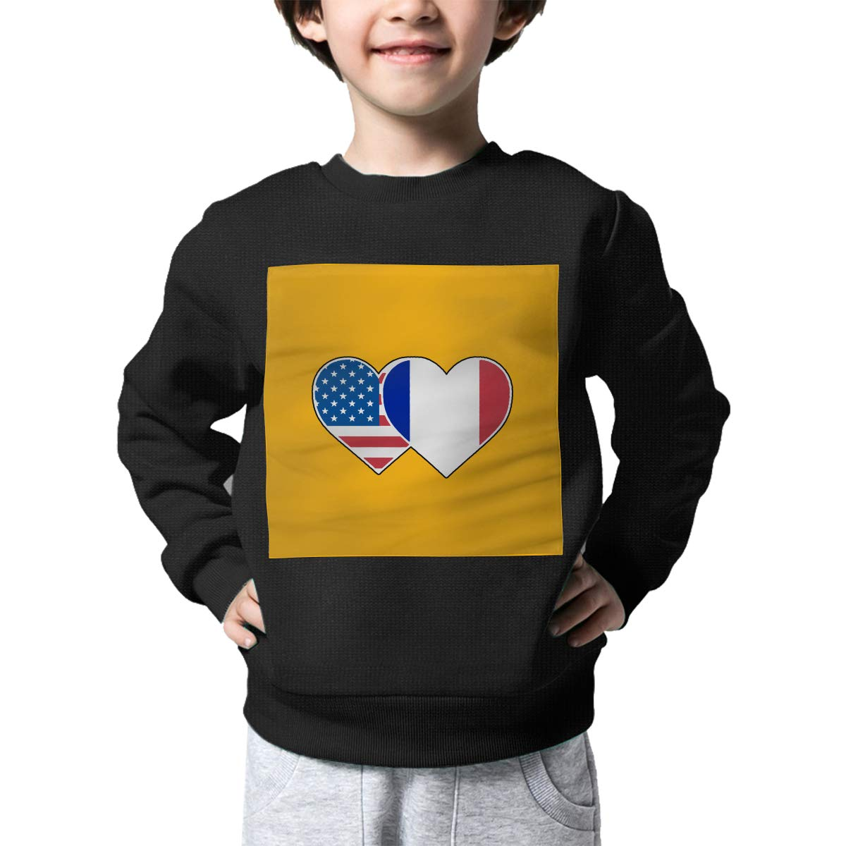 AW-KOCP Childrens France USA Flag Twin Heart Sweater Kids Pullover Sweaters