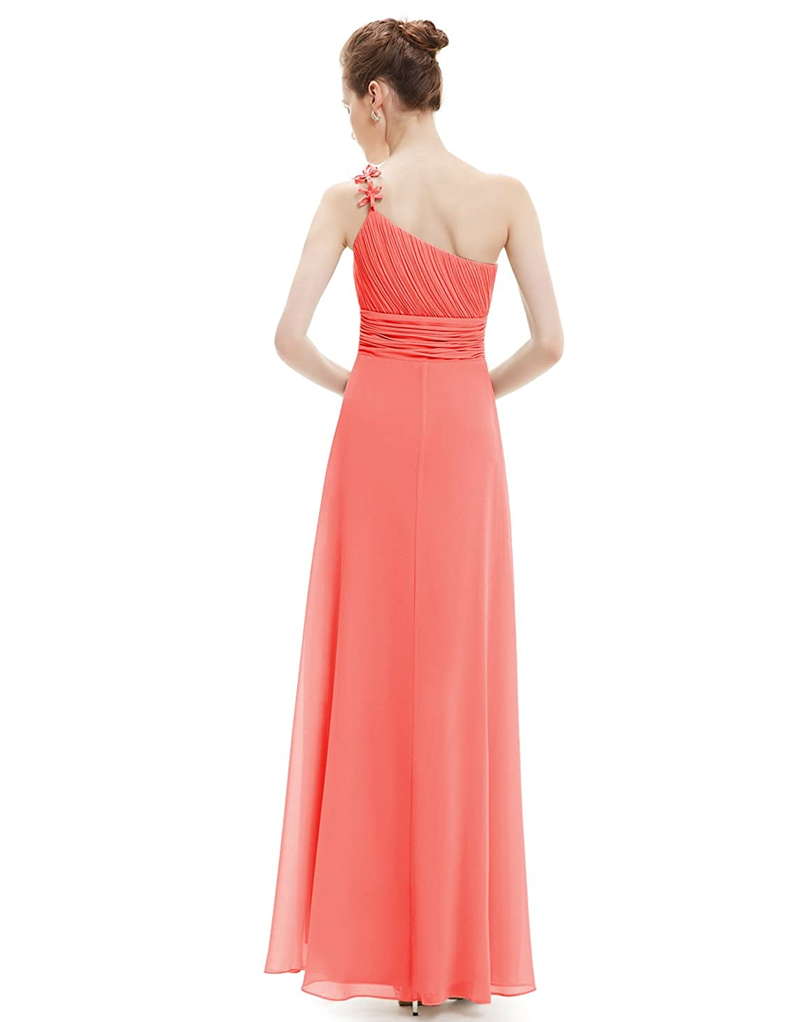 Ever Pretty Womens One Shoulder Long Bridesmaid Dress 8UK Coral: Amazon.co.uk: Clothing