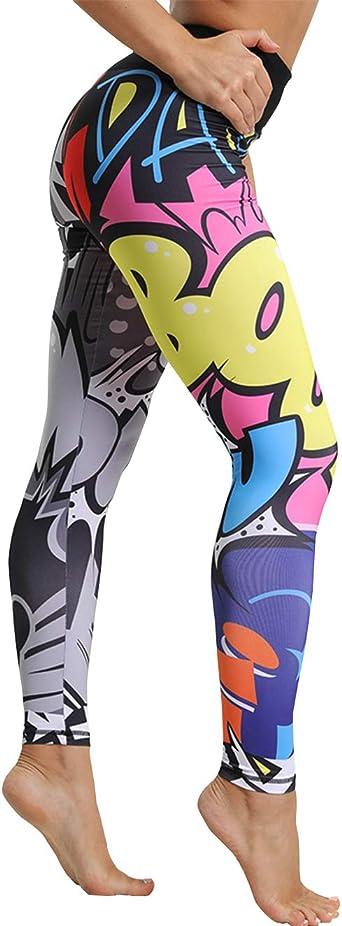 Oferta amazon: Mallas Deporte Mujer Leggins Yoga Pantalón Medias Deportivas Patrón de Dibujos Animados Gym Pantalones Deportivos Elástico Polainas para Running Pilates Fitness Ejercicio Talla XXL