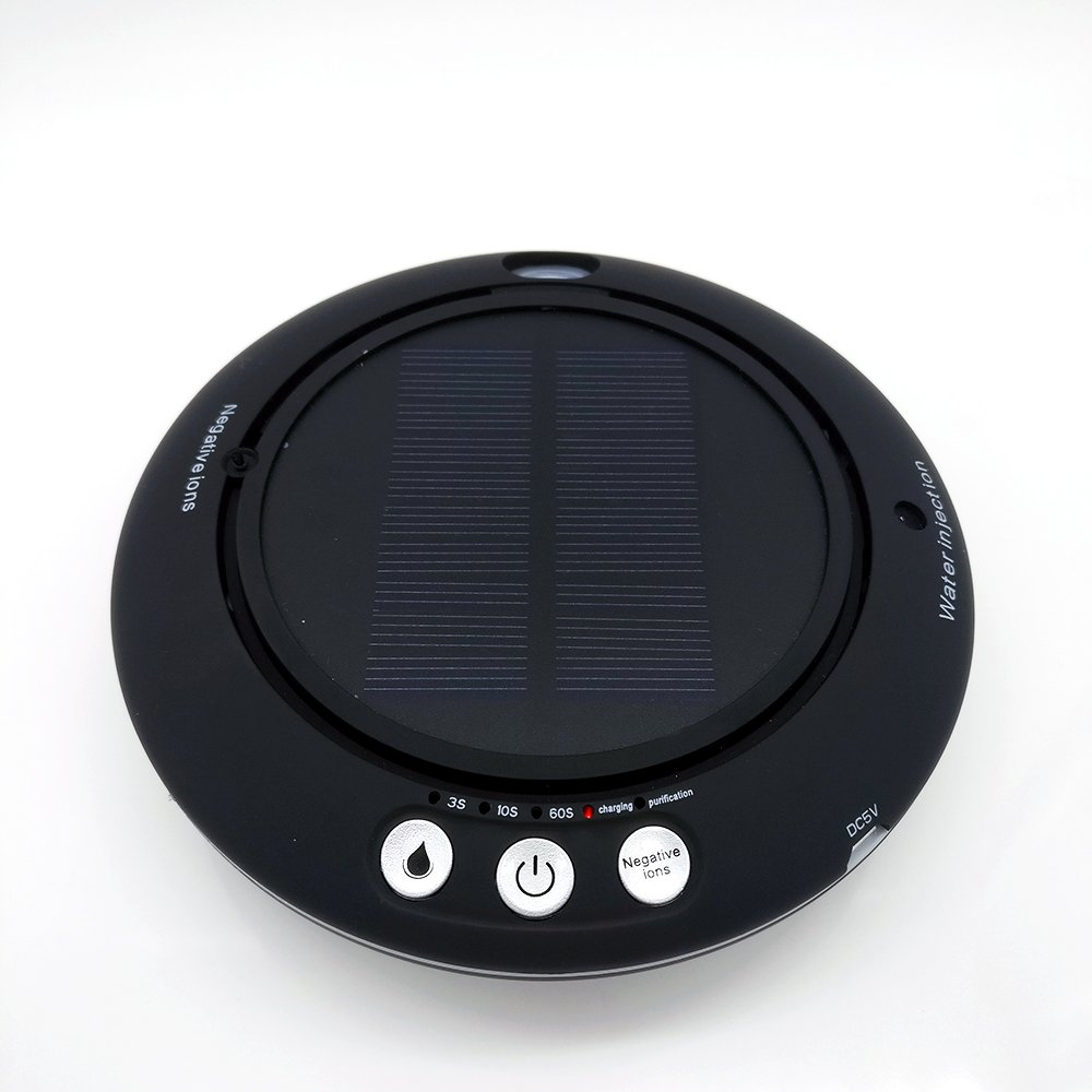 Solar Power Mini Air Purifier Car Charging Plug Multi Function Humidifier Aroma Diffuser With 100ml Black Color