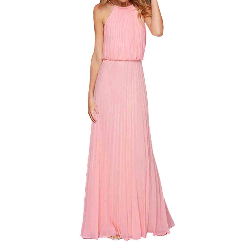 SUNNOW® Elegant Damen Sommerkleid Strand Partykleid Neckholder ärmellos Chiffon Rock Frauen Abendkleid Cocktailkleid Ballkleider Lang