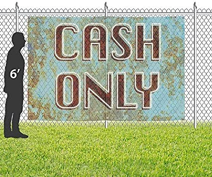 Ghost Aged Blue Wind-Resistant Outdoor Mesh Vinyl Banner CGSignLab 12x8 Cash Only