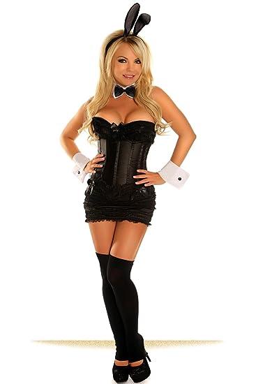 92c09ff3b7e0 Amazon.com  Daisy corsets Women s 6 Piece Elite Tuxedo Bunny Costume   Clothing
