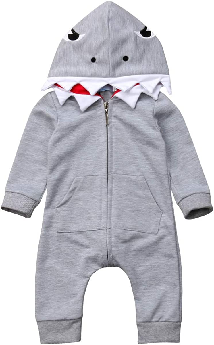 Newborn Infant Kids Boys Girls Cute Cartoon Shark Long Sleeve Zipper Hooded Romper Jumpsuit Top Outfits Clothes