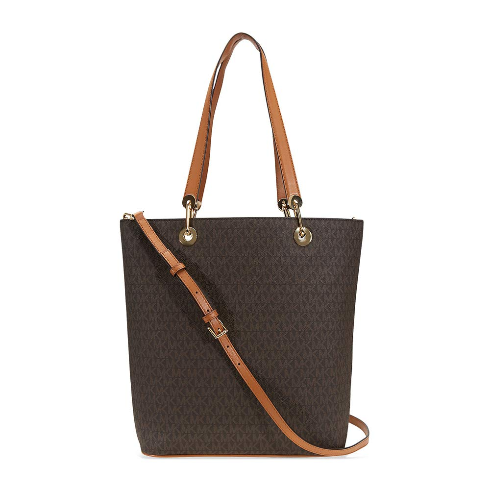 639cbeedd91e99 Amazon.com: MICHAEL Michael Kors Raven Large North South Top Zip Tote  (Signature Brown): Shoes