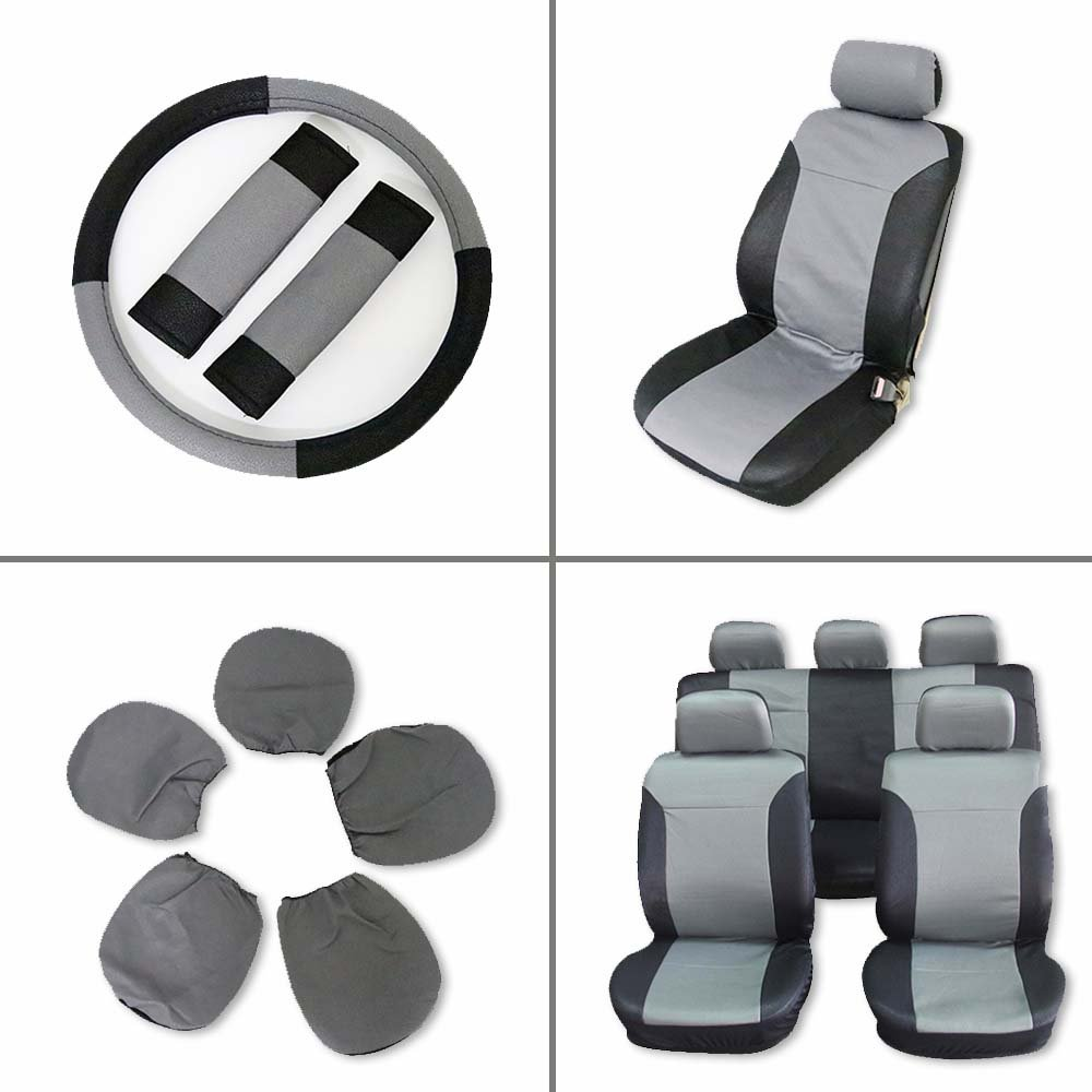 ECCPP Universal Car Seat Cover w/Headrest/Steering Wheel/Shoulder Pads - 100% Breathable Embossed Cloth Stretchy Durable for Most Cars Trucks Vans(Black/Gray)